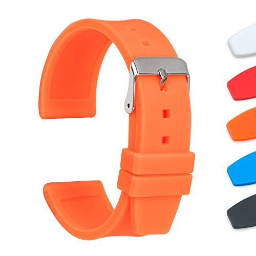 Ullchro Silicone Watch Strap Replacement Rubber Watch Band Waterproof Smooth Flexible Men Women - 16mm, 18mm, 20mm, 22mm, 24mm, 26mm, 28mm Watch Bracelet with Silver Buckle (18mm, (Orange Rubber Watch)