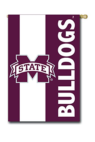 Team Sports America Mississippi State University Outdoor Safe Double-Sided Embroidered Logo Applique House Flag, 29 x 44 inches (State Mississippi Alumni University)