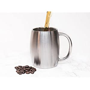 Stainless Steel Coffee Beer Tea Mugs - 14 Oz Double Walled Insulated - Set of 2 Avito - Best Value - BPA Free Healthy Choice - Shatterproof