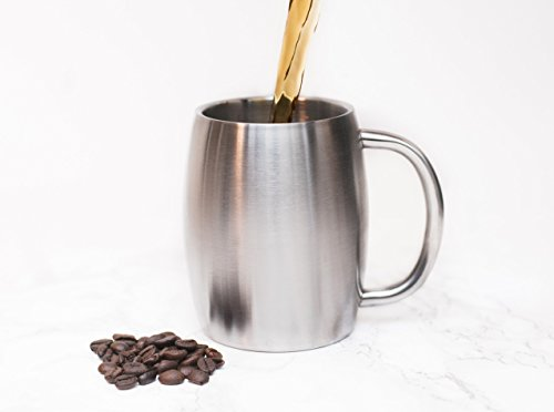 Stainless Steel Coffee Beer Tea Mugs - 14 Oz Double Walled Insulated - Set of 2 Avito - Best Value - BPA Free Healthy Choice - Shatterproof by Avito (Image #2)