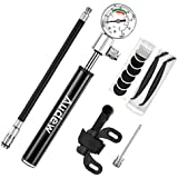 Audew Mini Bike Pump - 7.8Inches Portable and Lightweight Bicycle Air Pump with Gauge - 210Psi Presta and Schrader Valve for Mountain Bike, Ball, Inflatable Toy - Including Puncture Tire Repair Kit