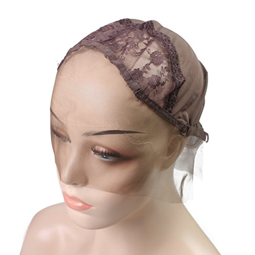 Beauty : Lace Wig Cap with Free Wig Combs Swiss Breathable Lace Front Wig Caps for Making Wigs with Adjustable Straps Small Size Skin Color Dark Brown