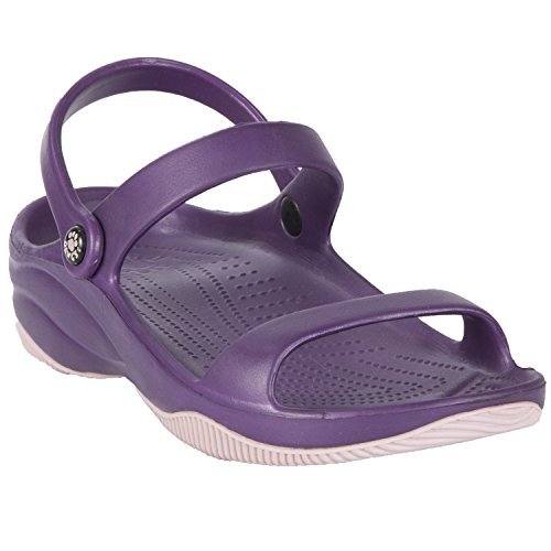 DAWGS Womens Premium 3-Strap Sandal with Rubber Sole Plum with Lilac