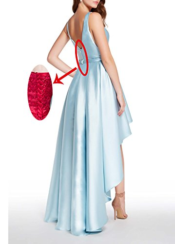 Gown With Bridal Lilac Scoop Beauty Womens Prom Dress Evening Formal Neck High Low Satin FwP6OqwA