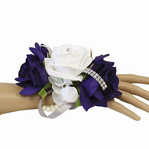 Angel Isabella Wrist Corsage-keepsake artificial roses hydrangea large wrist flower flower prom dance graduation events (Regency Purple White) by Angel Isabella