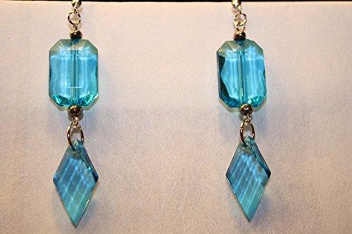 Blue Dangle Earrings Handmade Blue Ice Square and Diamond Shaped - Ice Dangle