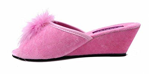 en à Femme Rose Talon pour Velours Dunlop compensé Pantoufles vUwqI