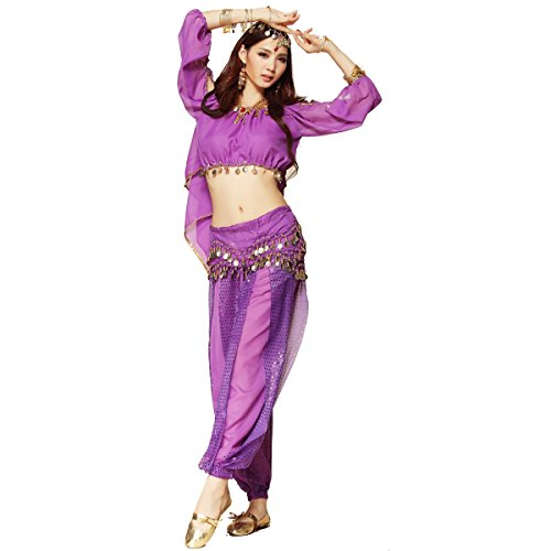 [Pilot-trade Women's Belly Dance Costume 3-Pieces Lanterns Sleeves Top Harem Pants Hip Scarf Belt] (Purple Belly Dance Costume)