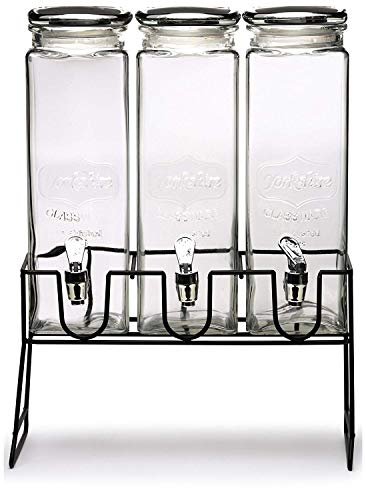 Circleware 69109 Yorkshire Triple XL Beverage Dispensers with Stand and Spigot Fun Party Glassware Cold Drink Pitcher for Water, Punch Iced Tea 80 oz each each, 3