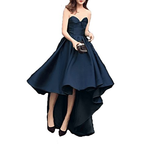 Gowns Prom High Homecoming Women's DKBridal Low Bridesmaid Navy Party Sweetheart Dresses Stain 8Hqfv