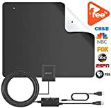 Two Face TV Antenna - 2018 Version Indoor HDTV Antenna with NEWSET Amplifier Signal Booster - Freeview Local Channels Broadcast for All Type Television - 80 Miles Range and 16 ft Cable for VHF/UHf/FM