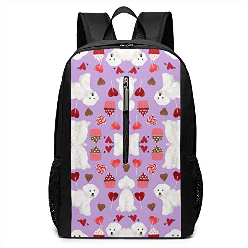 Bichon Frise Notepad - Bichon Frise Valentines Day Iconic Campus Backpack,Casual Daypack Backpacks 17 Inch