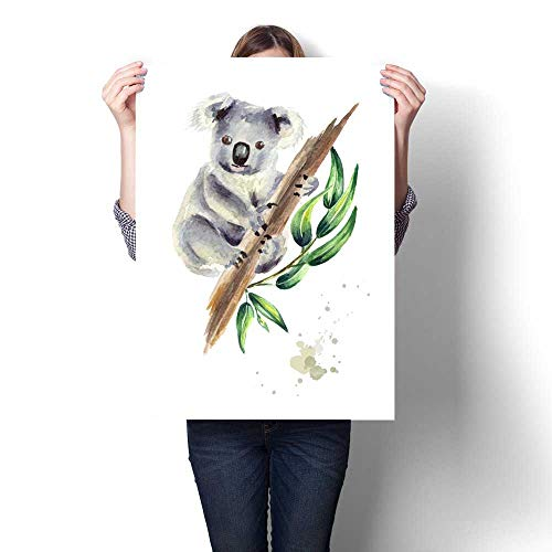 Anshesix Canvas Painting Sticker Koala Bear Sitting on Eucalyptus Branch Isolated on White Background Watercolor Hand Drawn Illustration Print On Canvas for Wall Decor 24
