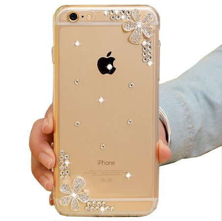 iPhone 6 Case,iPhone 6S Case,Hundromi 3d Handmade Clear Bling Flower Crystal Rhinestone Diamond Skin Case Cover for iPhone 6/6s 4.7 inch Screen – Crys…