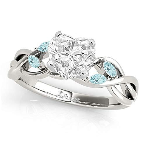 (Twisted Heart Aquamarines Engagement Ring Palladium (1.00ct) )