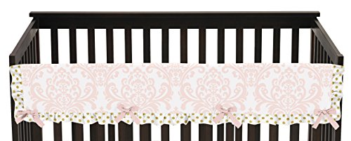 Blush Pink White Damask and Gold Polka Dot Amelia Long Front Rail Guard Baby Teething Cover Crib Protector Wrap