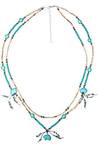(Necklace - Turquoise Spirit Bears, Two Stranded, Heishi, Gemstone)