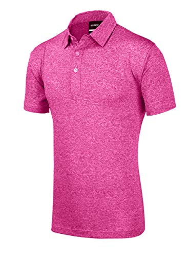 yamato Men's Quick Dry Golf Shirts, Regular Fit Short Sleeve Polo, Performance Casual Collared T-Shirt, L Purple Red