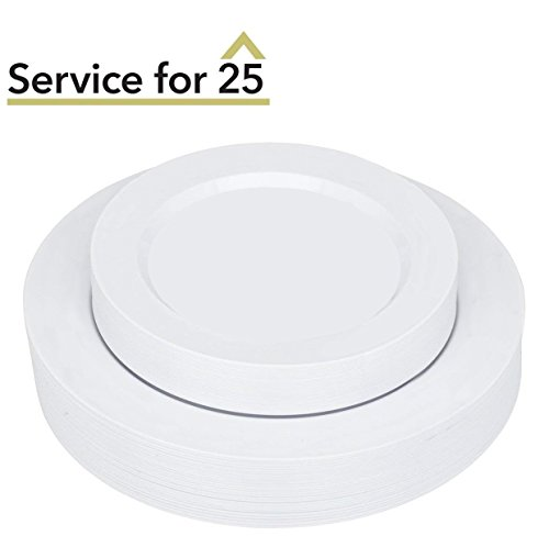 50 Piece White Round Plastic Plates Set Service for 25 - Disposable & Heavy Duty Plates Combo Includes: 25 Dinner Plates and 25 Salad or Dessert Plates - Stock Your Home - Reflections Stock