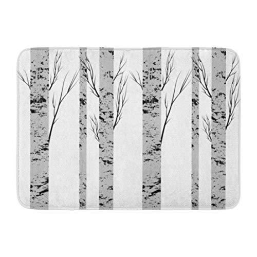 - Emvency Doormats Bath Rugs Outdoor/Indoor Door Mat Gray Bark Birch Trees Fabrics Green Forest Pattern Drawing Wood Trunk Bathroom Decor Rug 16