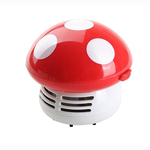 HONBAY Mini Cute Table Dust Vaccum Cleaner, Mushroom Shaped New Portable Corner Desk Vaccum Cleaner Mini Cute Vacuum Cleaner Dust Sweeper (Red)