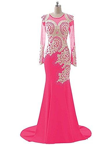 Frauen Spitze Abendkleid Mieder Love Pink Kleid Abendkleid Applikationen L nge Strass Sheer King's Meerjungfrau Boden Perlen Langarm A5qvnv