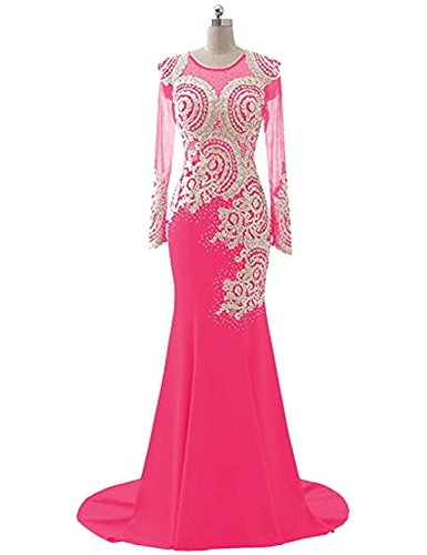 Love King's Abendkleid Pink Abendkleid Boden Strass Applikationen Mieder Perlen L Langarm Frauen Spitze nge Meerjungfrau Kleid Sheer pqdqFwC