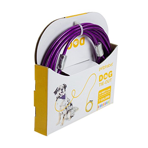 Petphabet-Heavy-Duty-Tie-Out-Cable-for-Large-Size-Dogs-up-to-100-Pounds-15-Feet-Long-Purple