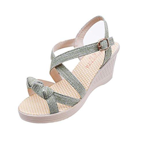 Binmer (tm) Damesschoenen Zomersandalen Casual Peep Toe Platform Sleehakken Sandalen Groen