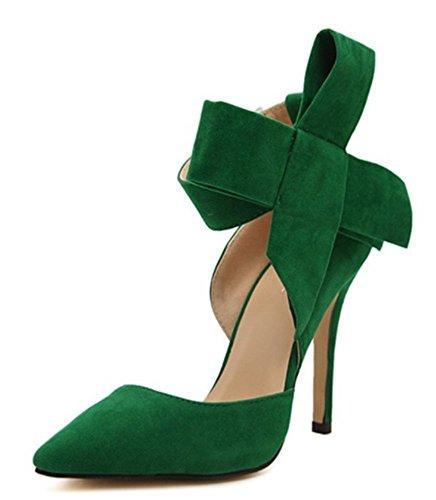 Soiree Vert Avec Femme Velours Aiguille Escarpins À Chaussures Yogly Talons Club Hauts Talon Papillon Noeud TO6awq