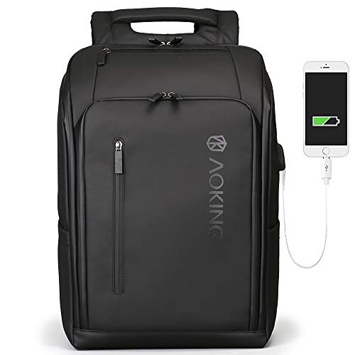 aoking Dual Laptop Expandable Backpack USB Men Waterproof Antitheft Business Travel Bag