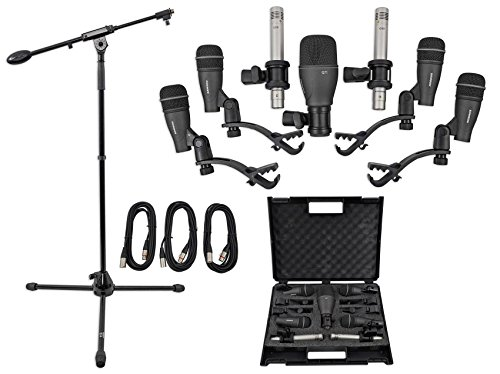 Samson DK707 Drum Microphone Kit-(1) Kick+(4) Snare+(2) Pencil Mics+Boom+Cables by Samson Technologies