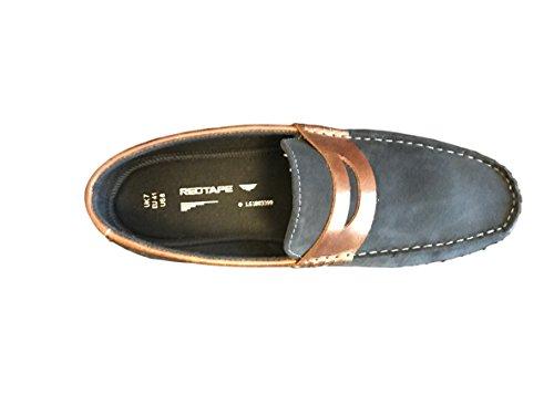 Red Tape Wardon los hombres del ante de los mocasines / Zapatos azul marino