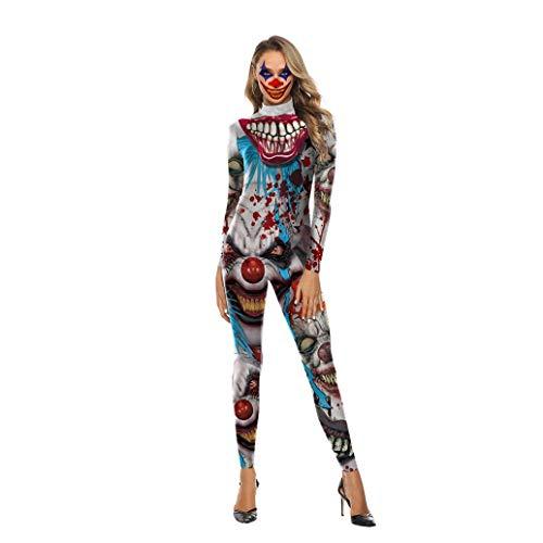 Fancyww Women Halloween Costumes for Women Cosplay 3D Print Skull Joker Cosplay Bodysuit(WB14200303,M)