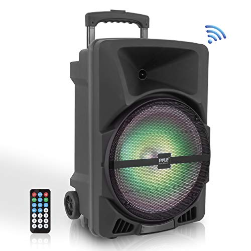 Wireless Portable PA Speaker System – 800W High Powered bluetooth Compatible Indoor and Outdoor DJ Sound Stereo Loudspeaker w/USB SD MP3 AUX 3.5mm Input, Flashing Party Light & FM Radio – PPHP1244B