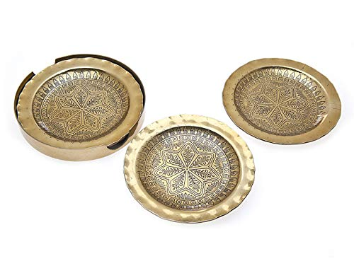 Frame Occasions Drink Coasters - Gold Coasters and Holder for Drink Spill Tabletop Protector - Set of Four - by Godinger