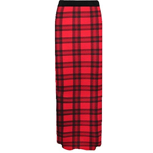 Janisramone mujeres jersey maxi falda gitana bodycon verano vestido talla 8-26 Tartán Rojo