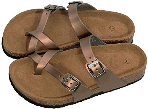 Festooning Women's Adjustable-Fit Cork-Footbed Summer Slide Sandals (8 M US, Bronze)