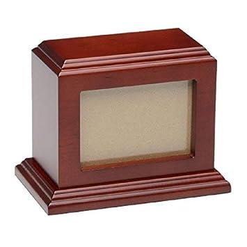 Eternal Rest by Sempr Pet Urn Peaceful Pet Memorial Keepsake Urn,Photo Box Pet Cremation Urn,Dog Urn,Cat Urn,Small Animal Urn, Color,Cherry, Size, 50 cu.in