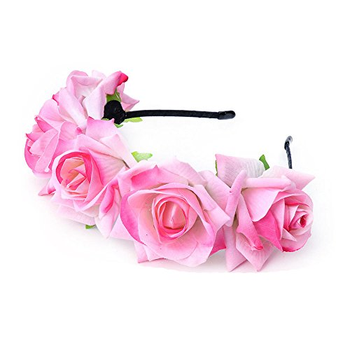 Pretty Pink Flowers (DreamLily Rose Flower Crown Wedding Festival Headband Hair Garland Wedding Headpiece (Light Pink))
