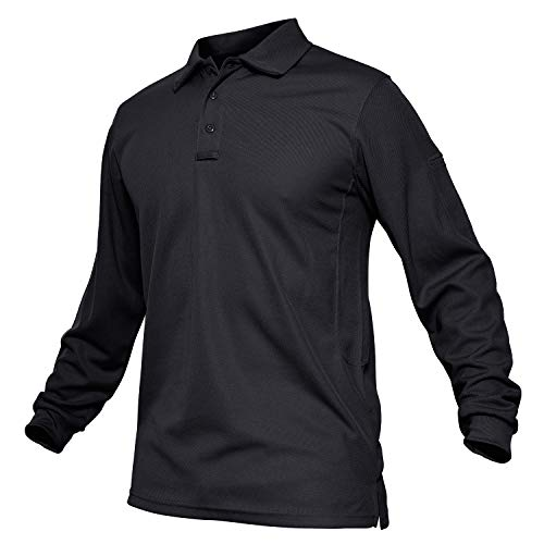 TACVASEN Men's Quick Dry Combat Airsoft Long Sleeve Polo Shirt Top Black,US 2XL