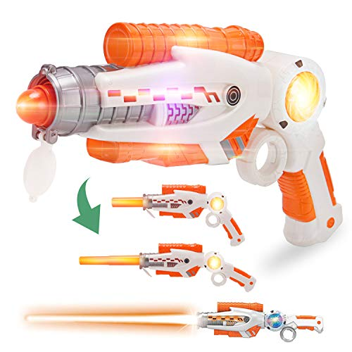 Guns And Swords (Liberty Imports 2-in-1 Transforming Gun Sword Light Up Saber Space Blaster Weapon for Kids with Lights and)