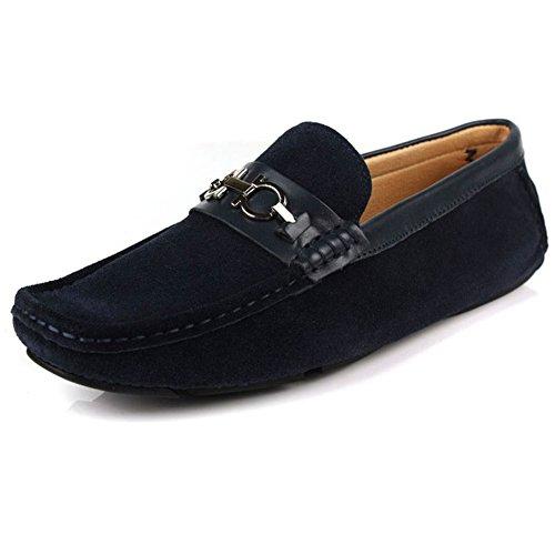 Santimon-Hombres Cómodo Cuero Genuino Zapato De Conducción Horsebit Mocasines Mocasín Doug Zapatos Azul