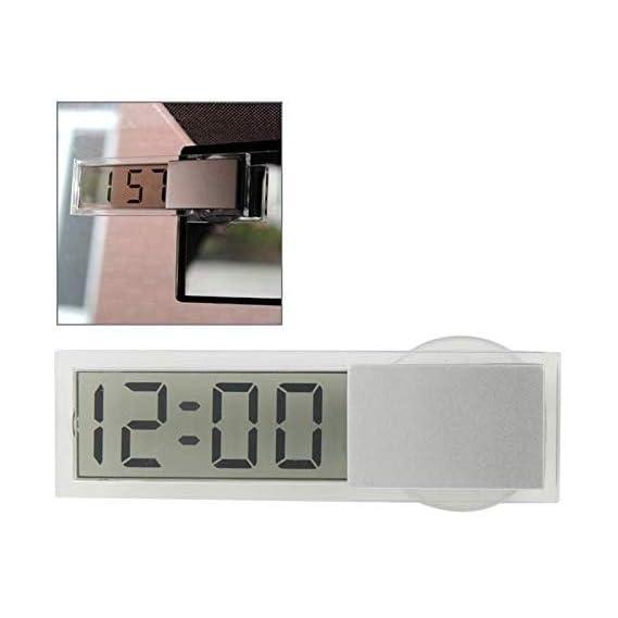 Instakart Mini Car Electronic Auto Clock Digital Transparent LCD Display with Sucker
