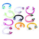 PiercingJ 10pcs 16G Punk Mixed Colored Horseshoe UV Acrylic Ball Spike Nose Ring