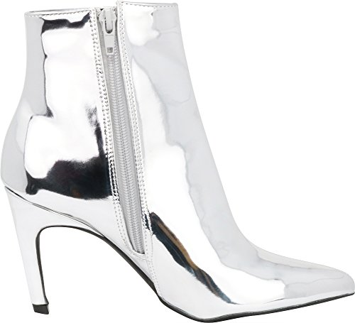 Cambridge Patent Stiletto Select Pu Bootie Heel High Toe Pointed Classic Ankle Women's Silver PdrwqXFP