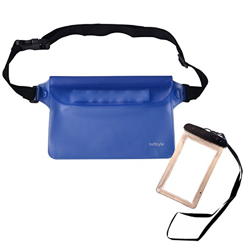 Waterproof Pouches - Dry Bags With Waist Strap For Beach Swimming Boating Kayaking Fishing Hiking - Bundled With Phone Case - Blue