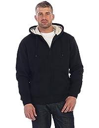 Mens Sherpa Lined Pull Zip Fleece Hoodie Jacket