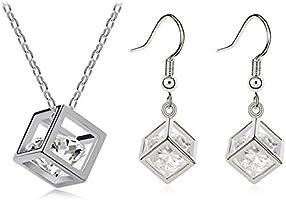 Habors 18K White Gold Plated Austrian Crystal Heart of Diamonds Pendant Set for Women(JFND0398WG)…