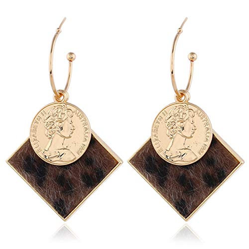 (Hukai Women Earrings Figure Coin Fashion Square Pendant Leopard Print Unique Creative Luxury Girls Lady Jewelry Gifts Party Wedding Stylish Charm)